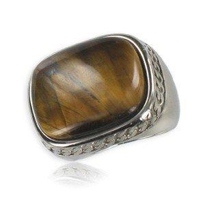 Sortija-Anillo de acero en colores topacio, marrón. Con piedra natural
