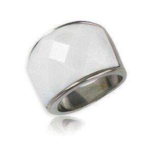 Sortija-Anillo de acero en color blanco. Con piedra natural