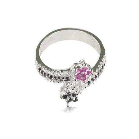 Sortija-Anillo de plata de ley con baño de oro blanco en colores cristal, rosa, negro