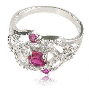 Sortija-Anillo de plata de ley con baño de oro blanco en colores cristal, rosa