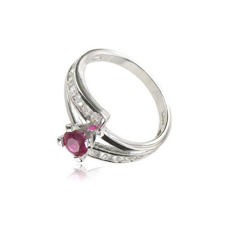 RINGS SILVER - PLATED: RHODIUM - IN COLOURS: CRYSTAL, PINK