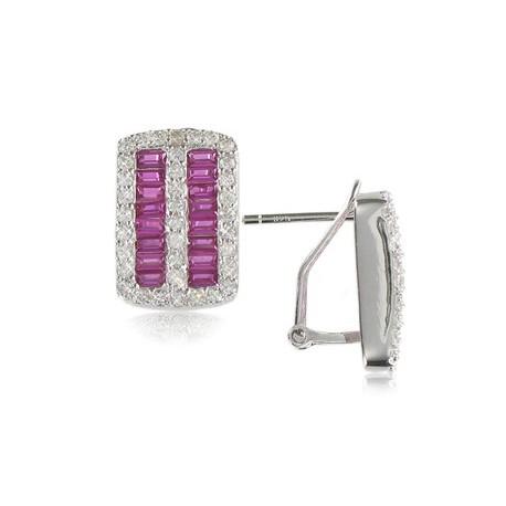 Pendientes de plata de ley con baño de oro blanco en colores cristal, rosa