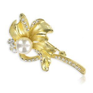 BROOCHES - PLATED: GOLD - IN COLOURS: CRYSTAL