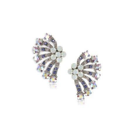 Pendientes de oro blanco en colores azul, blanco, violeta. Cortos