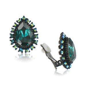 Pendientes de rutenio en color verde. Cortos. Con cristales. Cierre de clip.