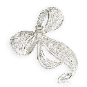 Broche Oro Blanco Cristales Lazo