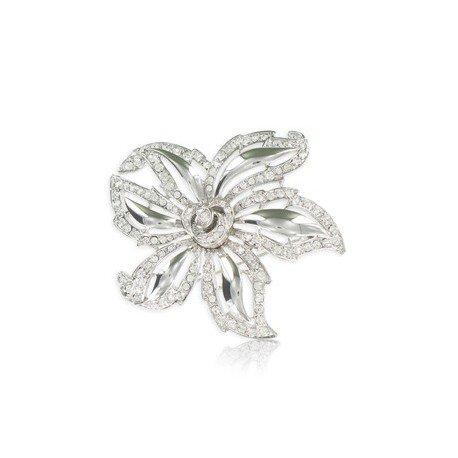 Broche Oro Blanco Cristales Flor
