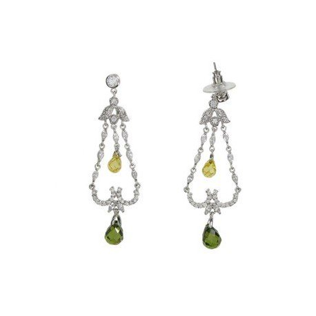EARRING - PLATED: RHODIUM - IN COLOURS: YELLOW, GREEN, CRYSTAL