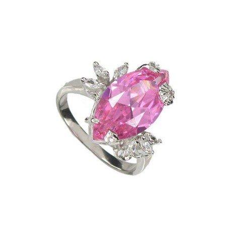 Sortija-Anillo de oro blanco en colores rosa, cristal. Con circonitas