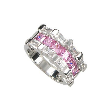 RINGS - PLATED: RHODIUM - IN COLOURS: CRYSTAL, PINK
