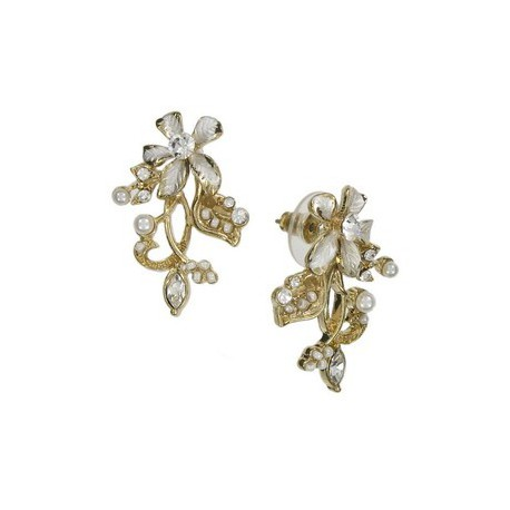 Pendientes de oro en colores blanco, cristal. Cortos. Con cristales, perlas