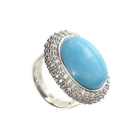 RINGS - PLATED: RHODIUM - IN COLOURS: BLUE, CRYSTAL, TURQUOISE