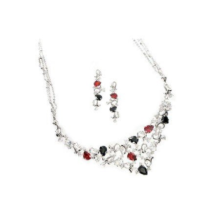 SETS - PLATED: RHODIUM - IN COLOURS: PREVAILING COLOUR RED, BLACK, CRYSTAL