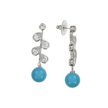 EARRING - PLATED: RHODIUM - IN COLOURS: BLUE, CRYSTAL, TURQUOISE