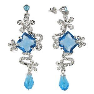 EARRING - PLATED: RHODIUM - IN COLOURS: BLUE, CRYSTAL