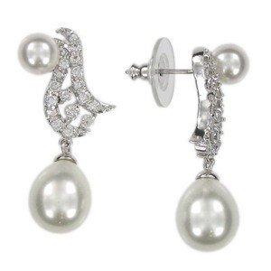 Pendientes de oro blanco en color cristal. Con circonitas, cristales, perlas
