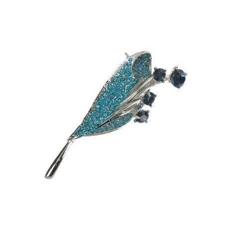 BROOCHES - PLATED: ANTIQUE SILVER - IN COLOURS: BLUE, TURQUOISE