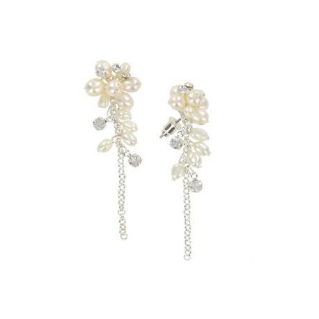 Pendientes de plata en color cristal. Largos. Con cristales, perlas