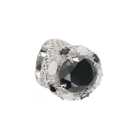 RINGS - PLATED: RHODIUM - IN COLOURS: WHITED, BLACK