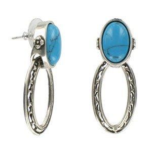 Pendientes de plata antigua en colores azul, turquesa. Medianos. Con adornos en resina