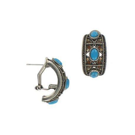 Pendientes de plata antigua en colores azul, turquesa. Cortos. Con adornos en resina