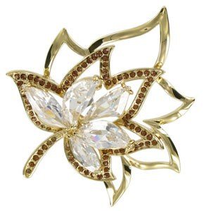 BROOCHES - PLATED: GOLD - IN COLOURS: TOPAZ, CRYSTAL