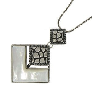 NECKLACES - PLATED: ANTIQUE SILVER - IN COLOURS: WHITED