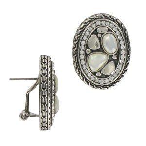 Pendientes de plata antigua en colores cristal, marrón, blanco. Con nácar