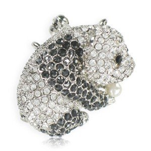 BROOCHES - PLATED: RHODIUM - IN COLOURS: BLACK, CRYSTAL
